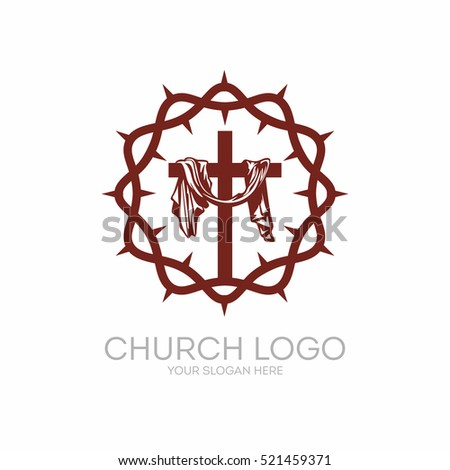 Church Logo Christian Symbols Crown Thorns Stock Vector Royalty
