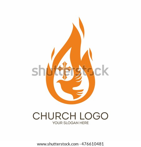 Church logo christian symbols dove flame stock vector 476610481 church logo christian symbols dove the flame of the holy spirit and the thecheapjerseys Images