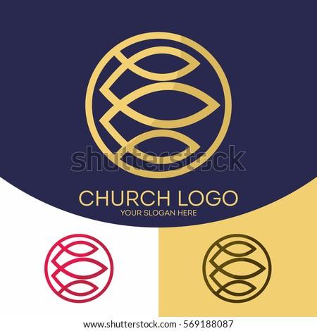 Church Logo Christian Symbols Fish Symbol Stock Vector 569188087