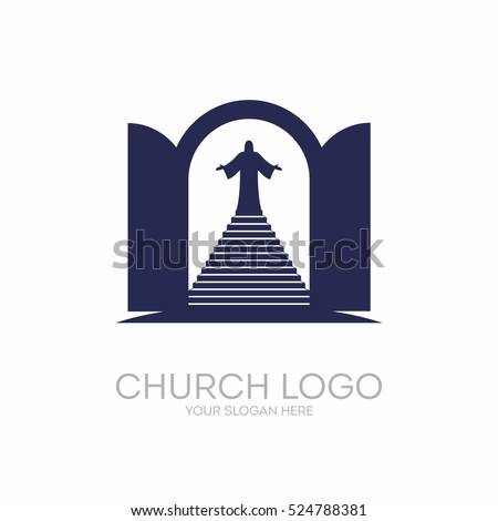 Christian Symbols. Open The Door And The Staircase Leading To The Lord