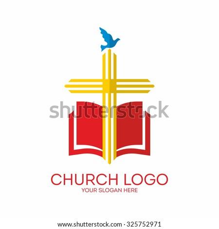 Church logo. Cross, bible, dove. - stock vector