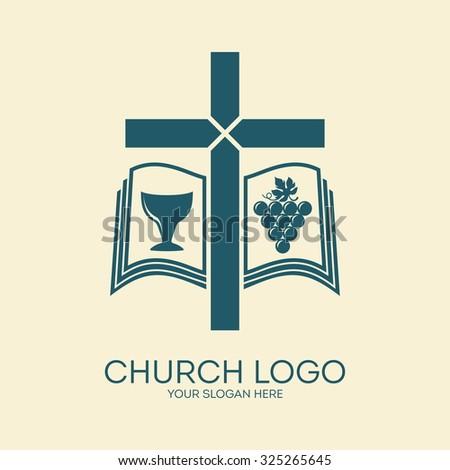 Church logo. Cross, bible, grape - stock vector