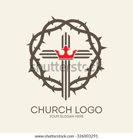 Church logo. Crown of thorns, cross and crown - stock vector