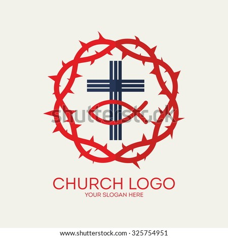 Church logo. Crown of thorns, cross and Jesus fish. - stock vector