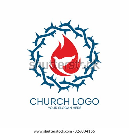 Church logo. Crown of thorns, flame and dove.  - stock vector