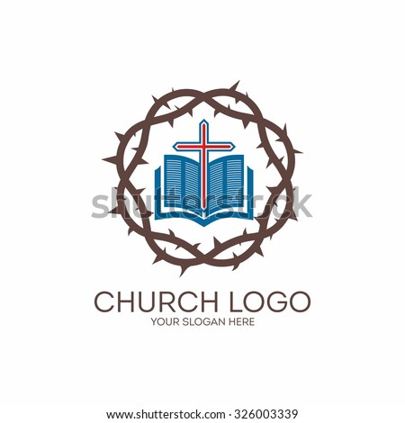Church logo. Crown of thorns, open bible and cross. - stock vector