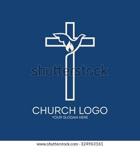 Church logo. Dove, cross, Holy Spirit, flame - stock vector