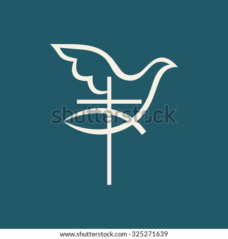 Church logo. Fish, Cross and dove holy spirit - stock vector