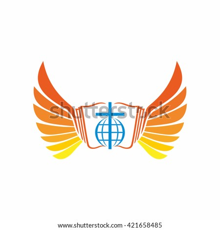 Church logo. Globe, world, Jesus' cross and angel wings.