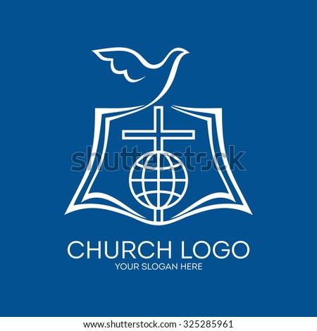 Church logo. Open bible, dove, cross and globe. - stock vector