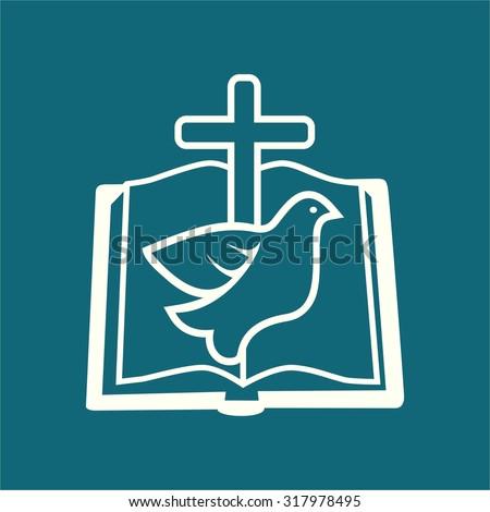 Church logo. Open Bible, dove, cross, holy spirit, Bible, pages. - stock vector