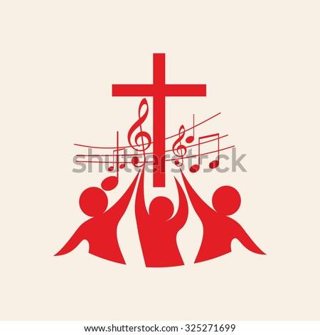 Church logo. People worship God - stock vector