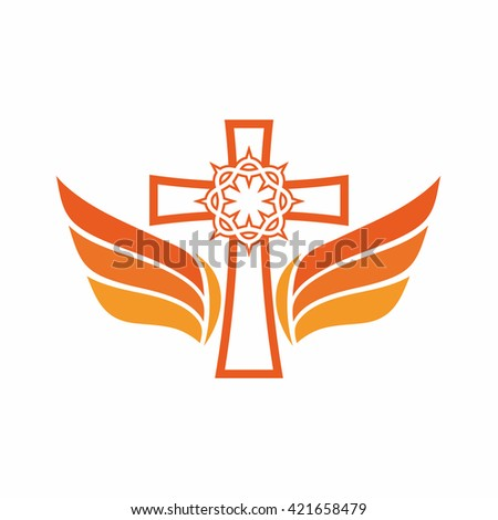 Church logo. The cross of Jesus, crown of thorns, and angel wings. - stock vector