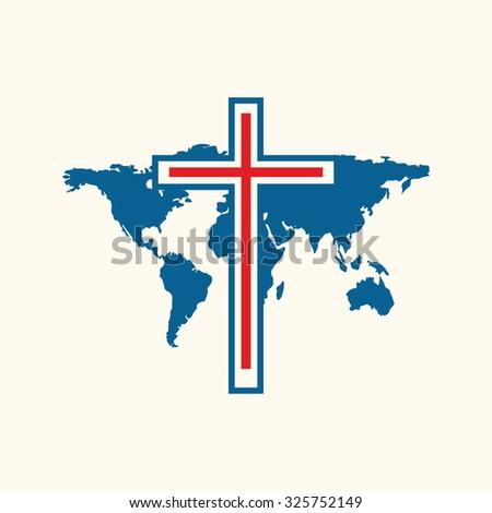 Church logo. World map and cross. - stock vector