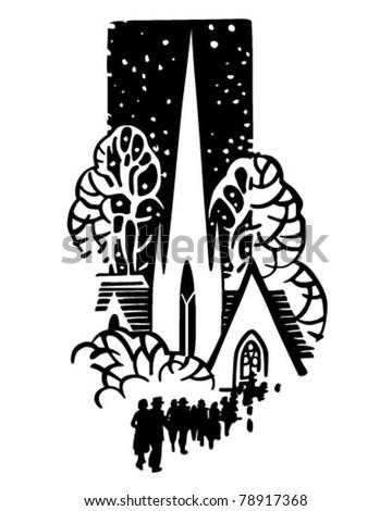 Church Motif - Retro Clipart Illustration - stock vector