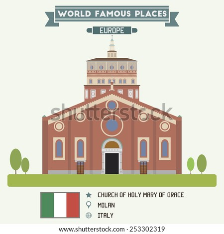 Church of Holy Mary of Grace, Milan - stock vector