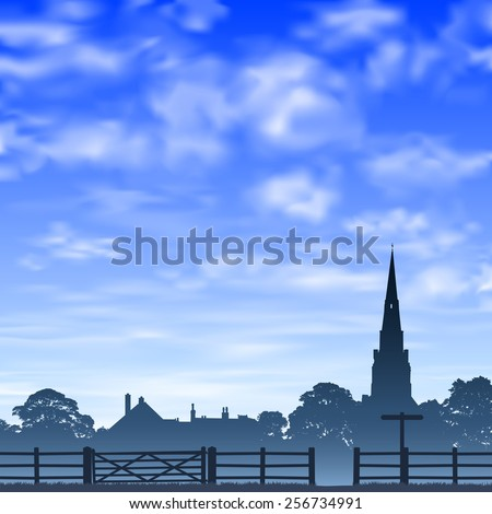 Church Spire in Silhouette with  Wooden Gate and Fence. - Vector EPS 10