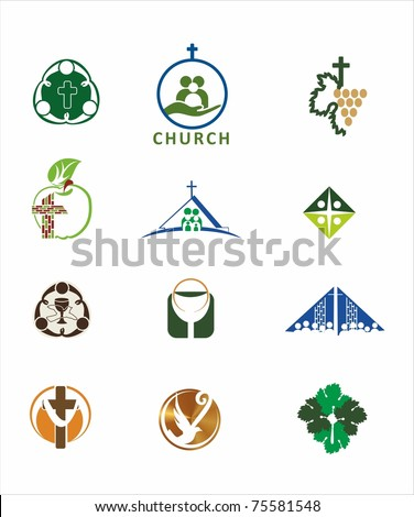 Church symbols - stock vector