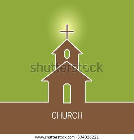 Church vector icon. Religion building christian illustration. Catholic faith architecture with cross.  - stock vector