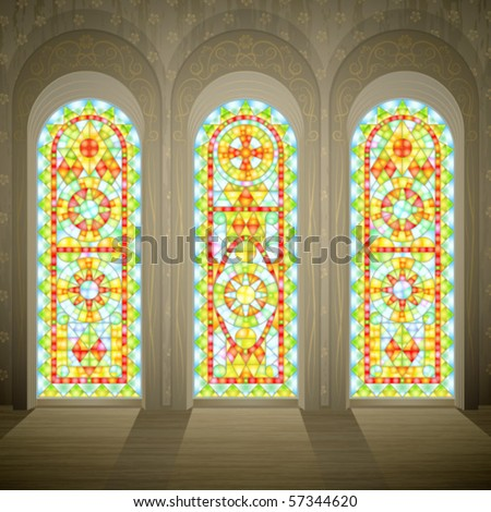 Church wall with three tall gothic stained glass windows (plain transparent glass version is in my gallery too)