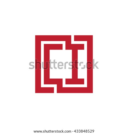 CI initial letters looping linked square logo red