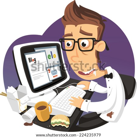 Ciber addict vector cartoon illustration - stock vector