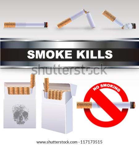 Cigar Box, cigarettes and smoke kills label. vector design - stock vector