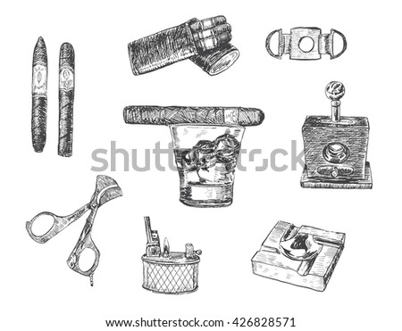 Cigar, lighter, ashtray, guillotines for cigars, gilded cutter, scissors, glass of whiskey. Set of cigars and smoking tobacco elements. Vintage illustration in engraving style - stock vector