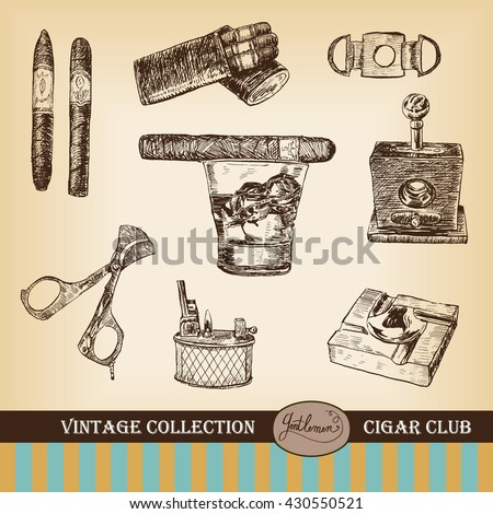 Cigar, lighter, ashtray, guillotines for cigars, gilded cutter, scissors, glass of whiskey. Set of cigars and smoking tobacco elements. Cigar club. Vintage illustration in engraving style - stock vector