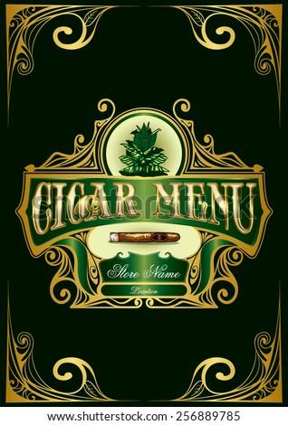 Cigar Menu List - stock vector