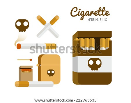 Cigarette and lighter set. Smoking kill concept. flat design element. vector illustration - stock vector