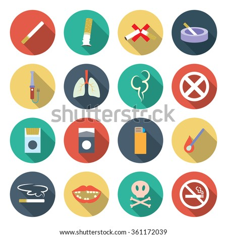 Cigarette and Smoking icon set. Vector illustration - stock vector