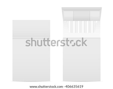 Cigarette box set on a white background. - stock vector