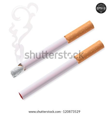 Cigarette burns and not burns. Illustration on white background. Vector - stock vector