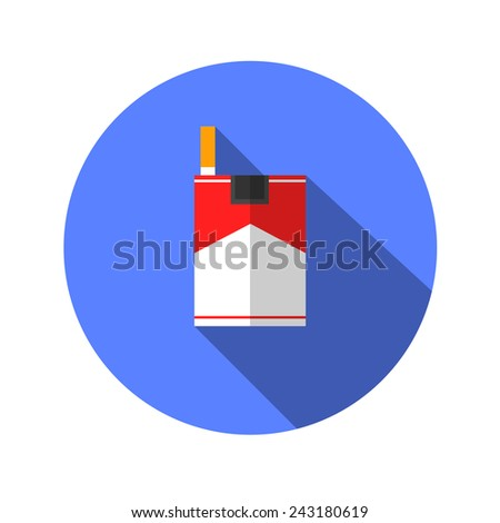cigarette flat icon with long shadow. - stock vector