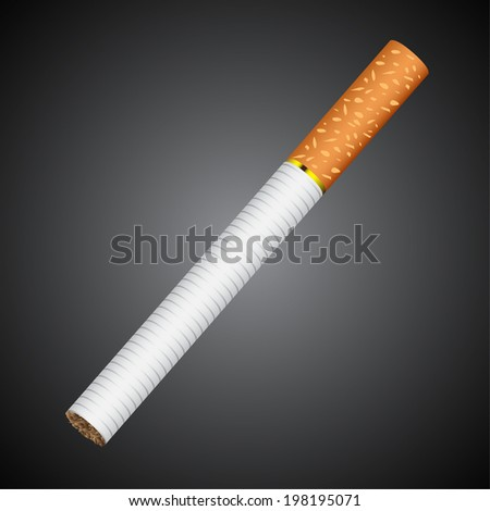 cigarette lying on a gray background  - stock vector