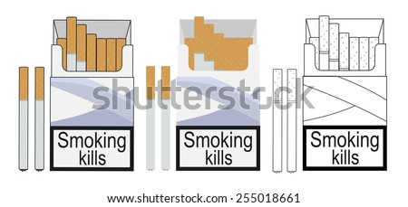 Cigarette pack icons. Color, no outline, linear. Vector clip art illustrations isolated on white - stock vector