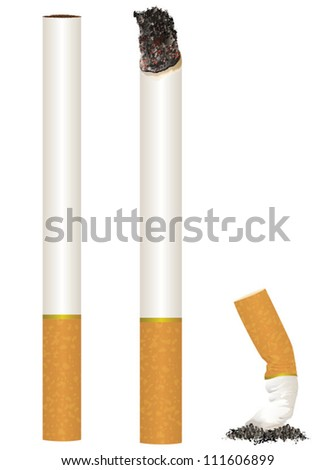Cigarette Stages from New to Put Out/Scalable Vector Artwork - stock vector