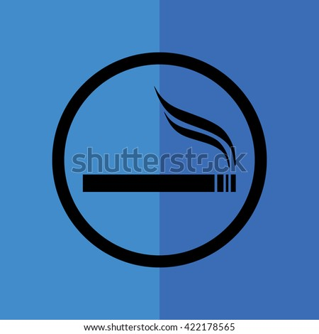 Cigarette vector icon. Allowed smoking sign. Blue background - stock vector
