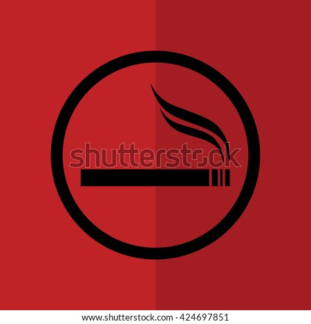 Cigarette vector icon. Allowed smoking sign. Red background - stock vector
