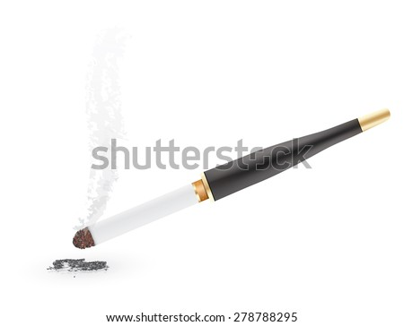 Cigarette with a wooden mouthpiece, isolated on white - stock vector
