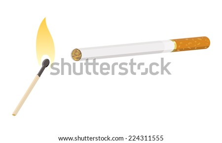 cigarette with lit match - stock vector