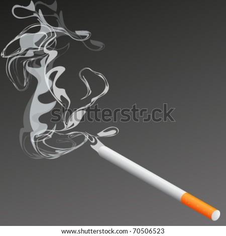 cigarette with smoke illustration - stock vector