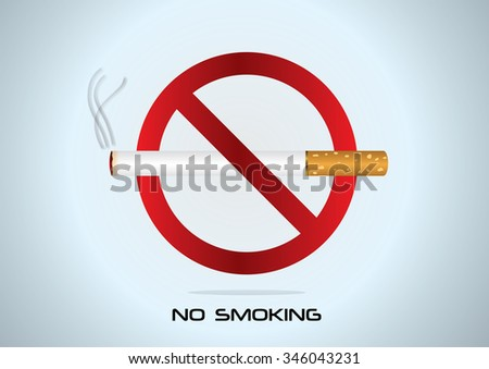 "cigarettes and the sign ""No smoking"""