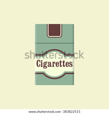 Cigarettes pack flat icon. Closed pack of cigarettes. Green cigarettes pack. Cigarettes pack vector illustration. Vintage cigarettes pack. Flat design - stock vector