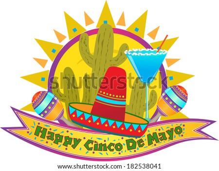 Cinco De Mayo Banner - Happy Cinco De Mayo banner with sombrero, maracas and margarita. Eps10 - stock vector