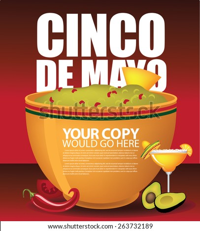 Cinco De Mayo big bowl of guacamole ad template EPS 10 vector royalty free stock illustration for greeting card, ad, promotion, poster, flier, blog, article, social media, marketing, menu, invitation - stock vector