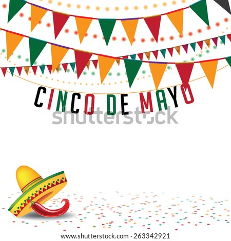 Cinco De Mayo Bunting Background EPS 10 Vector Royalty Free Stock Illustration For Greeting Card