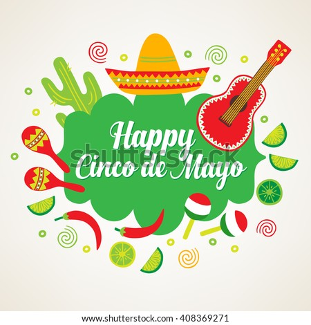 Cinco de Mayo (Fifth of May) greeting card with guitar, cactus, sombrero, maracas, chili pepper and lime. Perfect for Mexican greetings. Vector illustration - stock vector