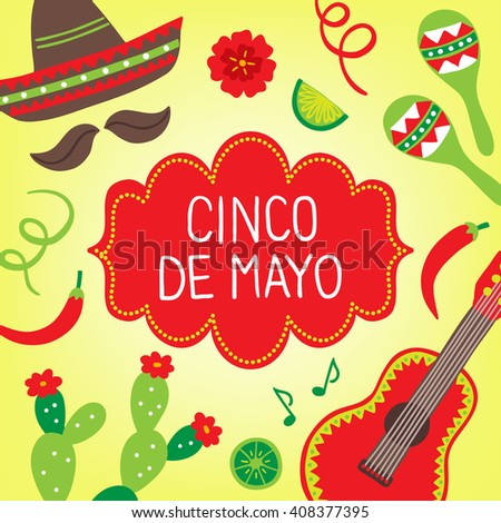 Cinco de Mayo (Fifth of May) greeting card with maracas, sombrero, cactus, guitar, chili pepper, lime, flower and notes. Perfect for Mexican greetings. Vector illustration - stock vector